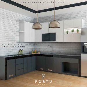 kitchen set minimalis bentuk letter l by portu interior