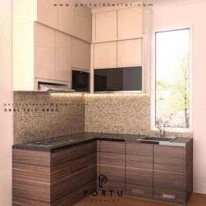 kitchen set minimalis model letter L by Portu Interior