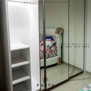 lemari pakaian sliding pintu cermin by portu interior