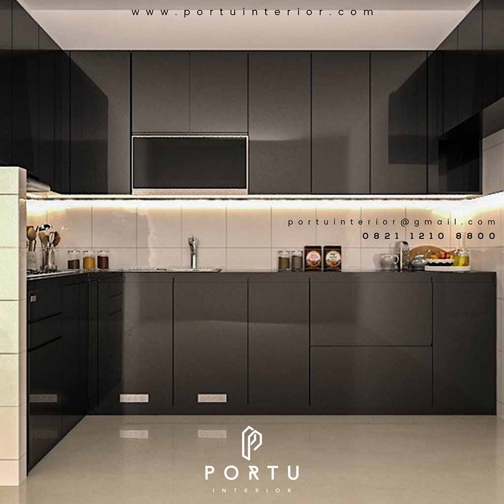 Gambar kitchen set warna hitam glossy design minimalis