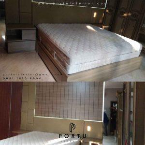 headboard tempat tidur dengan busa design minimalis by Portu Interior