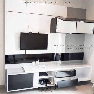 contoh backdrop tv design minimalis modern produksi Portu Interior