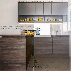 contoh kitchen set dapur bersih model letter L minimalis