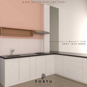 design lemari dapur minimalis warna putih model letter L by Portu Interior