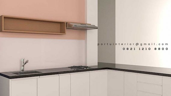 design lemari dapur minimalis warna putih model letter L by Portu Interior