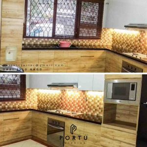 buat kitchen set minimalis letter l custom di Portu Interior