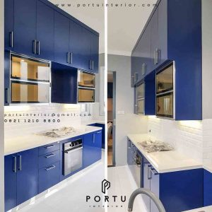 contoh kitchen set duco biru project di Pondok Indah id3286