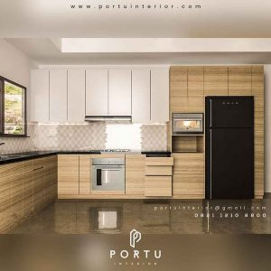 design kitchen set minimalis letter l by Portu Interior