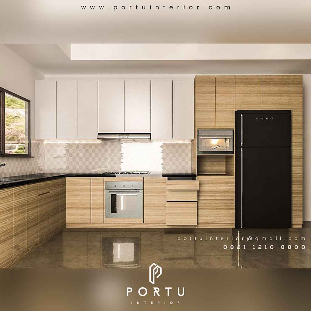 Gambar Kitchen Set Minimalis Letter L Portu Interior