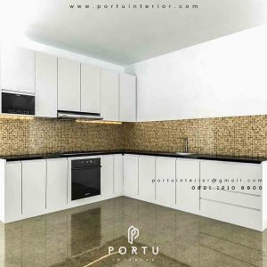 design kitchen set minimalis warna putih letter L by Portu id3423