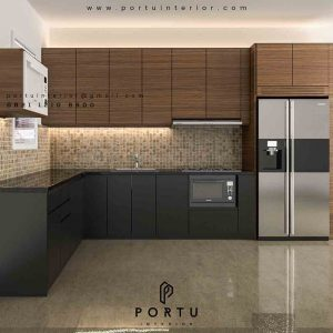 gambar kitchen cabinet design minimalis letter l di Bekasi id3485