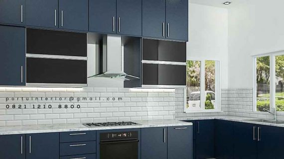 kitchen set duco biru minimalis by portu id3286