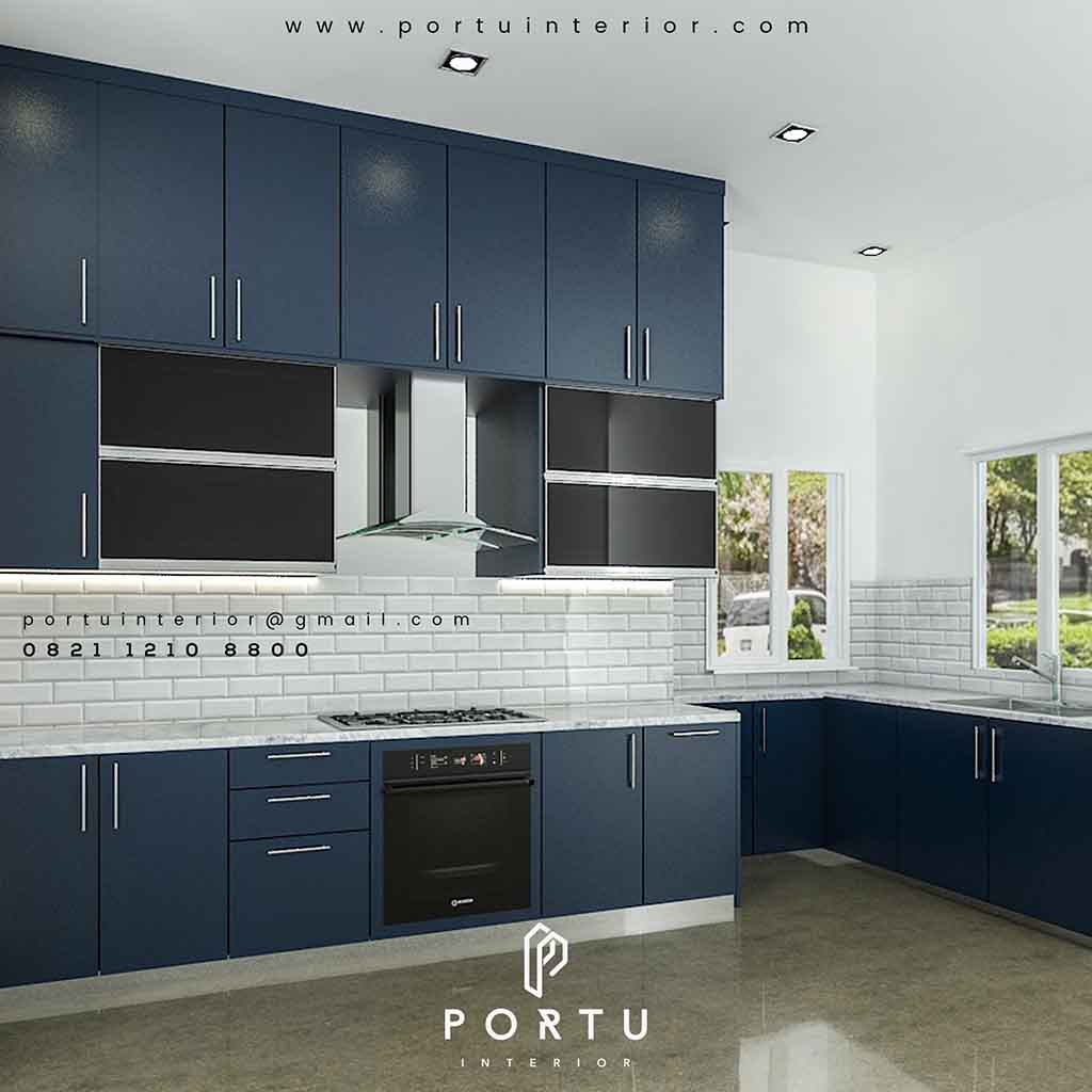 Kitchen Set Duco Biru Project Jalan Kencana Pondok Indah Portu Interior
