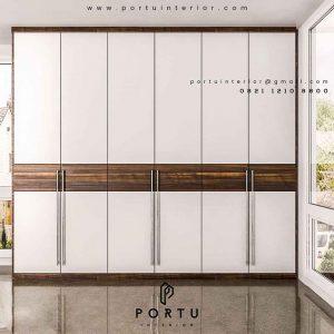 model lemari pakaian pintu ayun minimalis project di Pamulang id3427