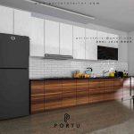 buat kitchen set model minimalis modern coklat putih
