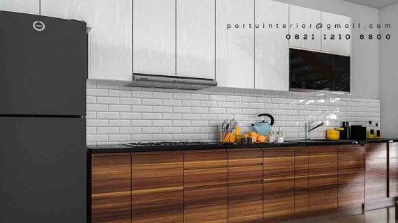buat kitchen set model minimalis modern coklat putih