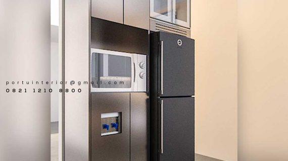 contoh kitchen set minimalis dengan kabinet kulkas