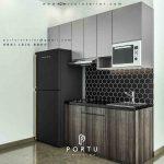 contoh kitchen set minimalis warna abu-abu model i