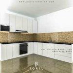 desain kitchen set minimalis warna putih bentuk l