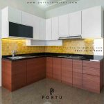 model kitchen set minimalis letter l kombinasi warna