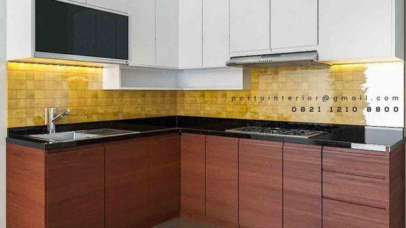 model kitchen set minimalis letter l kombinasi warna