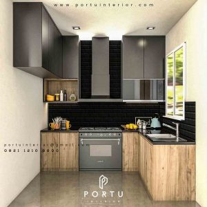 design minimalis lemari dapur coklat by Portu Interior id3456