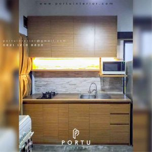 gambar kitchen set minimalis hpl coklat by portu interior id3498