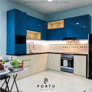 gambar kitchen set minimalis modern kombinasi warna by Portu id3391