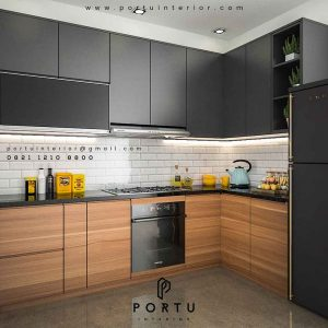 model kitchen set letter l by Portu Interior id3482