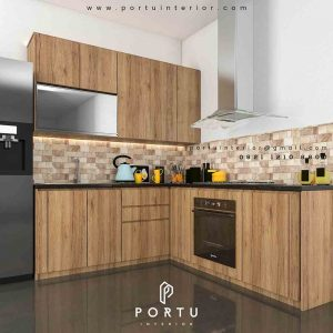 contoh kitchen set minimalis bahan hpl by Portu id3406