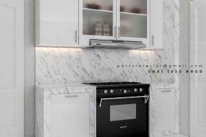 design kitchen set minimalis mewah bentuk i project Pakubuwono id3444