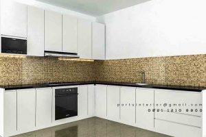 design kitchen set minimalis sederhana model letter L di Bekasi id3423