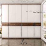 design lemari pakaian minimalis kombinasi warna