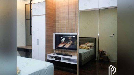 jual lemari pakaian sliding dengan backdrop custom by Portu