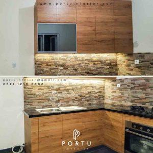 kitchen set minimalis bahan hpl warna coklat litter l di Cibubur id3406