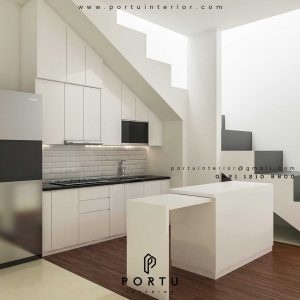 contoh kitchen set minimalis terbaru nuansa putih