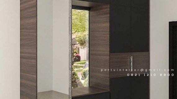 design wardrobe model minimalis bentuk i