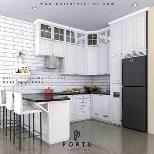 kitchen set design klasik dengan minibar by Portu