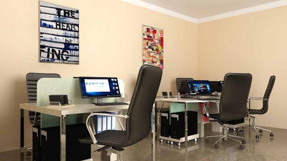 meja komputer design minimalis by Portu Interior