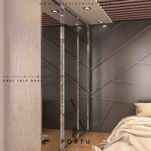 wardrobe minimalis modern dengan pintu full cermin