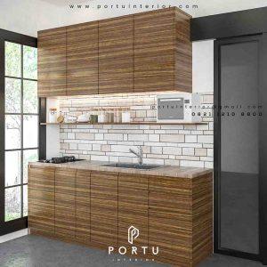 design lemari dapur warna coklat untuk dapur kotor by Portu Interior