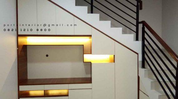 jual backdrop tv untuk bawah tangga Portu Interior