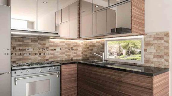 lemari dapur minimalis modern dengan pintu cermin