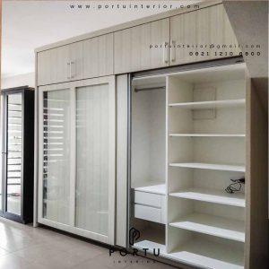 lemari sliding minimalis dengan kombinasi kaca by Portu