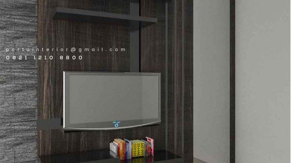 model backdrop tv dengan cermin di sisi samping