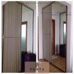 jual lemari pakaian sliding minimalis hpl kombinasi cermin
