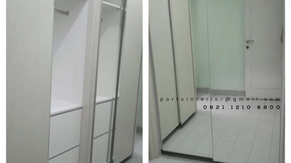 model lemari pakaian sliding 2 pintu finishing hpl