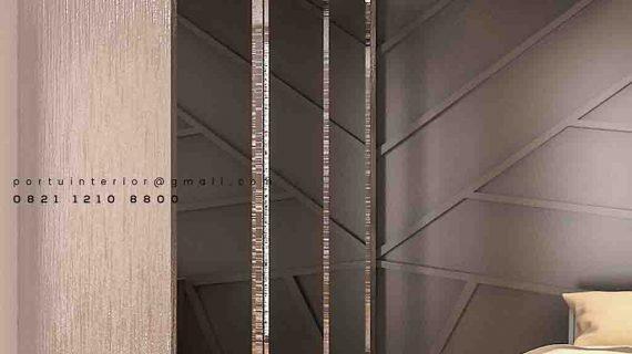 model lemari pakaian sliding letter L full cermin