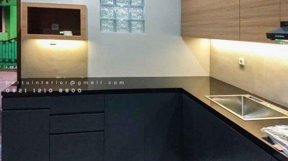 contoh lemari dapur simple minimalis letter L