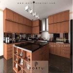 jual kitchen set model minimalis warna coklat Portu Interior